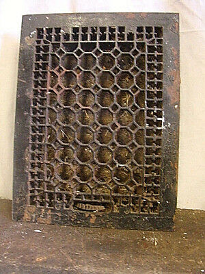 Antique Late 1800's Cast Iron Heating Grate Honeycomb Design 15.75 X 12