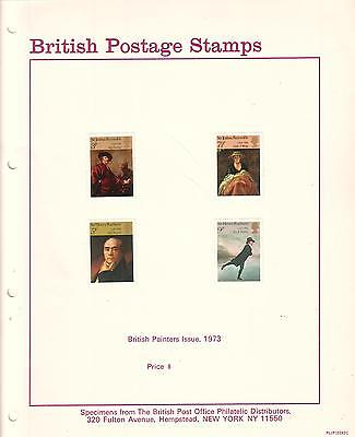 British Postage Stamps Paintings 1973 Specimens & post office photo