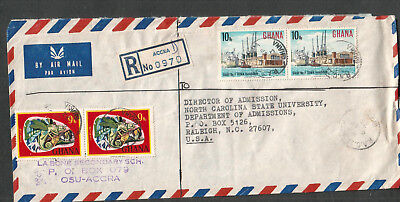 Ghana 1973 Registered air cover La Bone Secondary School Accra to Raleigh NC