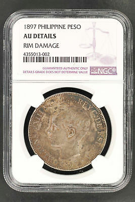 1897 Philippines Silver Peso NGC AU Details Rim Damage -150343