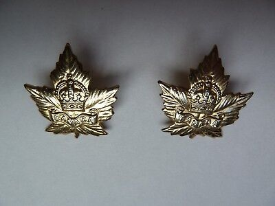 Pair Canadian Military Maple Leaf Collar Badges Screw Post Kc