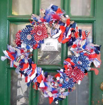 """4Th Of July Patriotic Diy Fabric Tie 15"""" Square Wreath Decor Red Blue Flowers"""
