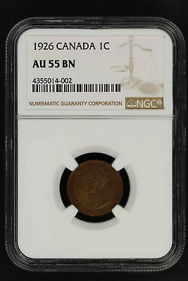 1926 Canada One Cent NGC AU-55 BN -150279