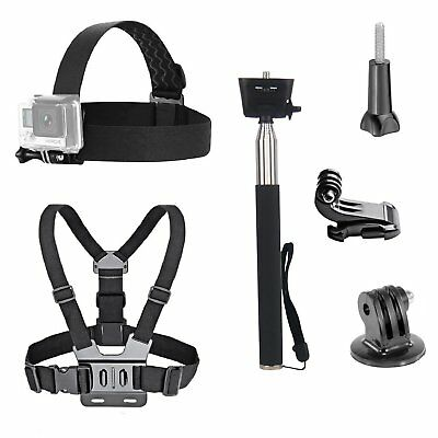 Go Pro Accessories Kit Head Strap Chest Belt Selfie Stick Monopod Gopro Cam Set