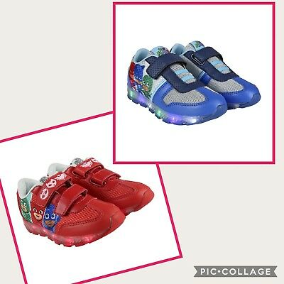 Pj masks flashing kids shoes/  trainers official red/ blue sizes 7-12