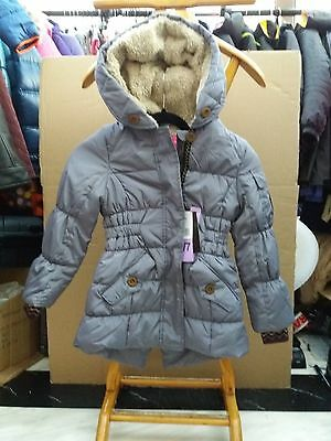 London Fog Children's 'Stunning' Grey Padded Coat with Faux Fur Hood - Age 6/7