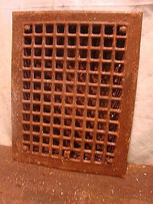 Antique Iron Heating Vent Grate Square Design 14 X 11  Hf