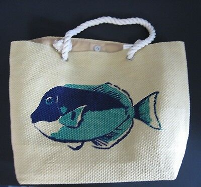 "Set Of 3 Fish Print Straw Beach Totes 18"" X 13.5"" Nwt"
