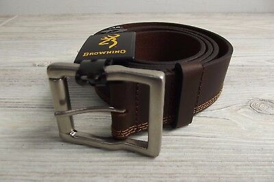 NEW BROWNING LEATHER BELT size 38 BROWN w/ Silver Buckle NWT