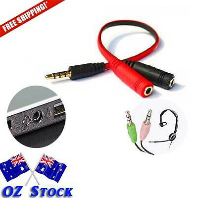 1 x 3.5mm Mic Audio Jack Splitter Cable Separate Audio and Mic Female Jack - Oz