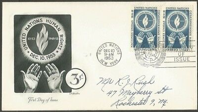 1953 United Nations Fdc Human Rights 3C Stamps Artmaster First Day Of Issue Ny