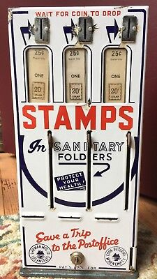 Vintage Porcelain front US Postage STAMP MACHINE Shipman MFG Los Angeles Coin Op
