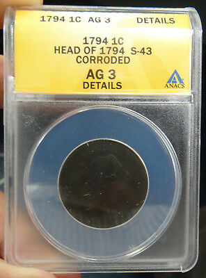1794 Liberty Cap Large Cent Head of 1794 S-43 ANACS AG 3 details - free shipping