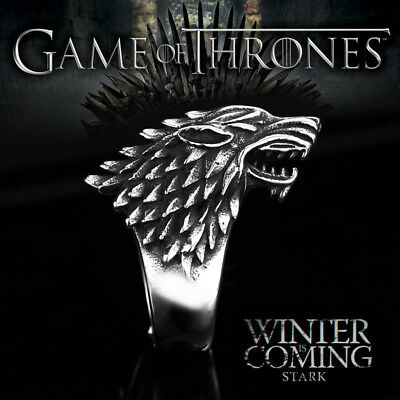 Stainles Steel Game Thrones Ice Wolf House Stark Of Winterfell Biker Animal Ring