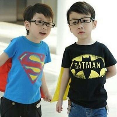 BATMAN SUPERMAN KIDS Boy Girl TODDLER T-SHIRT WITH CAPE Cloak Cosplay Costume LD