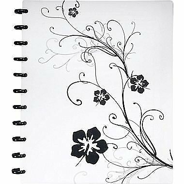 Staples Arc Customizable Hibiscus Design Notebook System, Black & White, 11