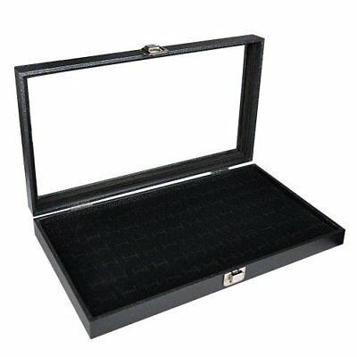 """Glass Top Black Jewelry Display Case With 72 Slot Ring Tray 14 3/4""""W x 8"""