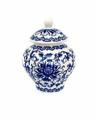 Ancient Chinese Style Blue and White Porcelain Tea Storage Helmet-shaped