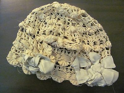 Antique Deco Victorian Edwardian Era Bonnet Boudouir Laced Ribbons Cap Lingerie