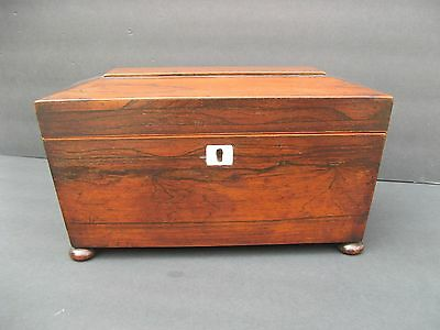 Antique Georgian Rosewood Tea Caddy With Bun Feet Casket Sarcophagus Key