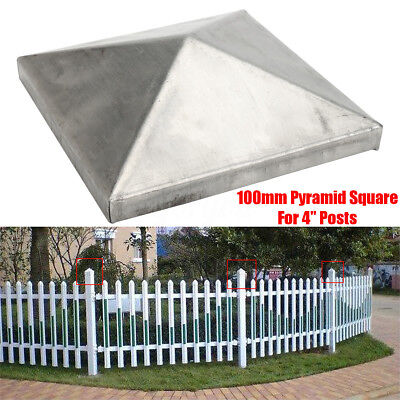 100 x 100mm Silver Iron Pyramid Epoxy Black Metal Fence Post Caps-For 4'' Posts