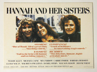 L000151 Vintage Unwritten Postcard / Hannah And Her Sisters / Woody Allen