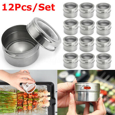 12Pcs/Set Stainless Steel Spice Tin Storage Container Jar Clear Lid Kitchen
