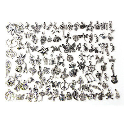 Wholesale 100pcs Bulk Lots Tibetans Silver Mix Charms Pendants Jewelry DIY Chic