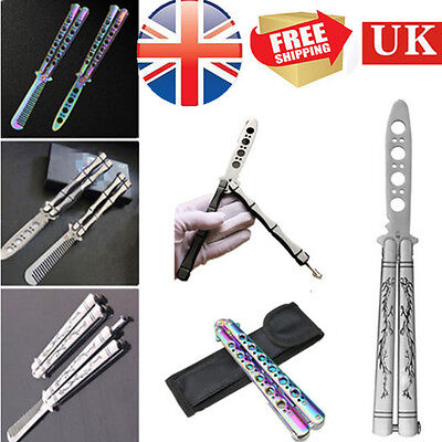 Steel Dragon Practice Butterfly Dull Knife Trainer Training Tool Sheath COOL UK