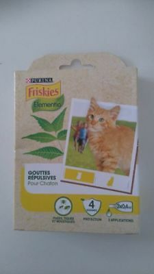 PURINA Friskies 3 Pipettes Gouttes Répulsives pour Chaton Antiparasitaire Neuf