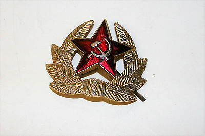 Vintage Russian Soviet Army Cap Hat Badge Red Star in Golden Wreath Mid Century