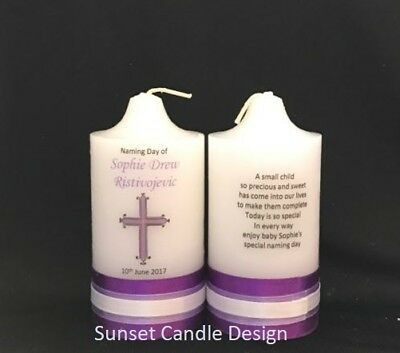 Personalised Candle Wedding Anniversary Christening Baptism Naming Day Memorial