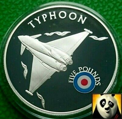 2008 ST HELENA £5 Five Pound History of RAF TYPHOON Plane Silver Proof Coin +COA