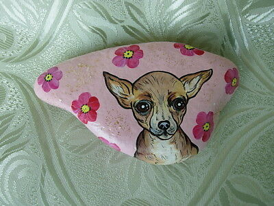 ORIGINAL CHIHUAHUA  HANDPAINTED PAPERWEIGHT - NATURAL STONE #1 dated signed