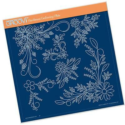 CLARITY STAMP GROOVI Parchment Embossing Plate TINA'S FLORAL SWIRLS & CORNERS