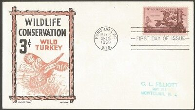 Us Fdc 1956 Wildlife Conservation Wild Turkey 3C Stamp First Day Of Issue Cover