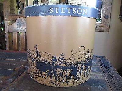 Collectible Vintage Tall Stetson Hat Box Cowboys Roping Round Up Western