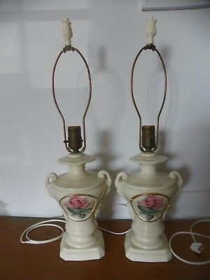 Pair of Vintage Victorian Urn Style Pink Rose Ivory Ceramic Porcelain Lamps