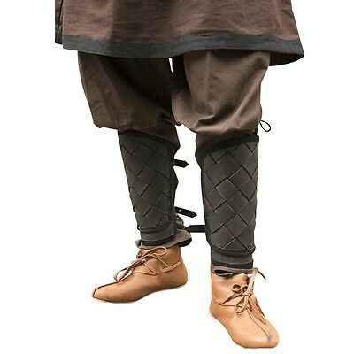 Leather Viking Greaves, Armor, Black or Brown Medieval, Norse, LARP, Weave