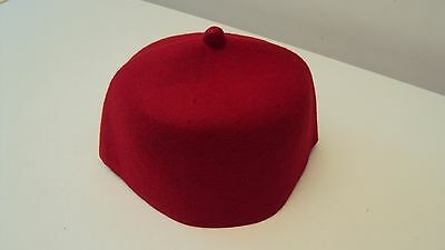 "Nigerian Traditional ""Igbo Fila"" Men's Cap Red - 22 inches 100 % Wool"