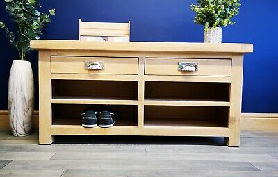 Kingsford Solid Oak Hall Bench Hallway Seat / Monks Bench / Shoe Storage Cabinet