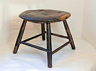 Antique Windsor Footstool Foot Rest Stool carved seat Farmhouse Chic PRIMITIVE