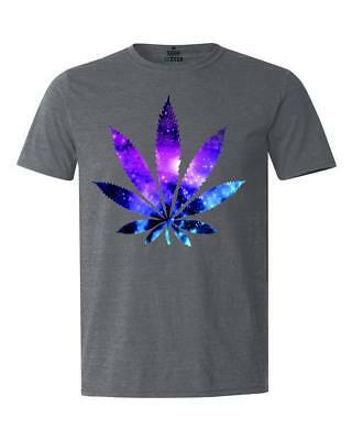 Galaxy Weed Leaf T-Shirt Marijuana Cannabis Stoner Kush Pot 420 Tees