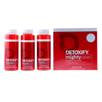 Detoxify Mighty Clean - Herbal Cleanse - TROPICAL FRUIT - 3 Bottles - FAST SHIP