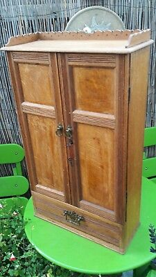 Antique Victorian Oak Wall Cabinet With Locking Doors And Drawer Original Keys