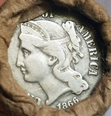Unsearched wheat cent roll - 1866 3-cent nickel and 1927 mercury dime ends