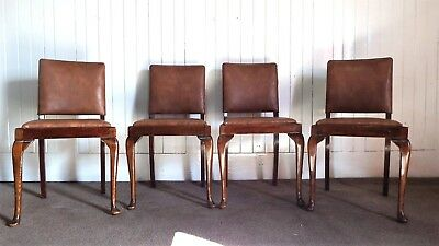 Antique vintage queen anne set of 4 kitchen / dining chairs