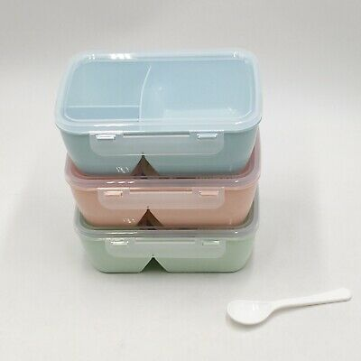 Portable Microwave Lunch Box Picnic Bento Food Container Storage + Spoon Tool #Z