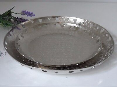 Decorative Vintage Silver Hammered Metal Candle Heart Plate Drinks Display Tray