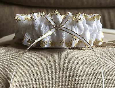 Metallic GOLD Edged White LACE Wedding BRIDAL GARTER